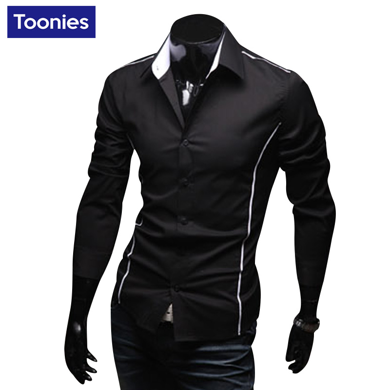 New Fashion Brand-clothing Mens Shirt Long Sleeve Slim Fit Camisa Hombre 3 Colors Casual Black Men Shirts Single Breasted Tops