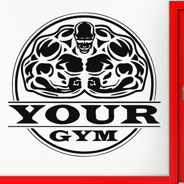 New arrival GYM Fitness Sticker Gymnastics Body-building Name Decal Posters Wall Decals home Decor Mural Fitness Sticker(China (Mainland))