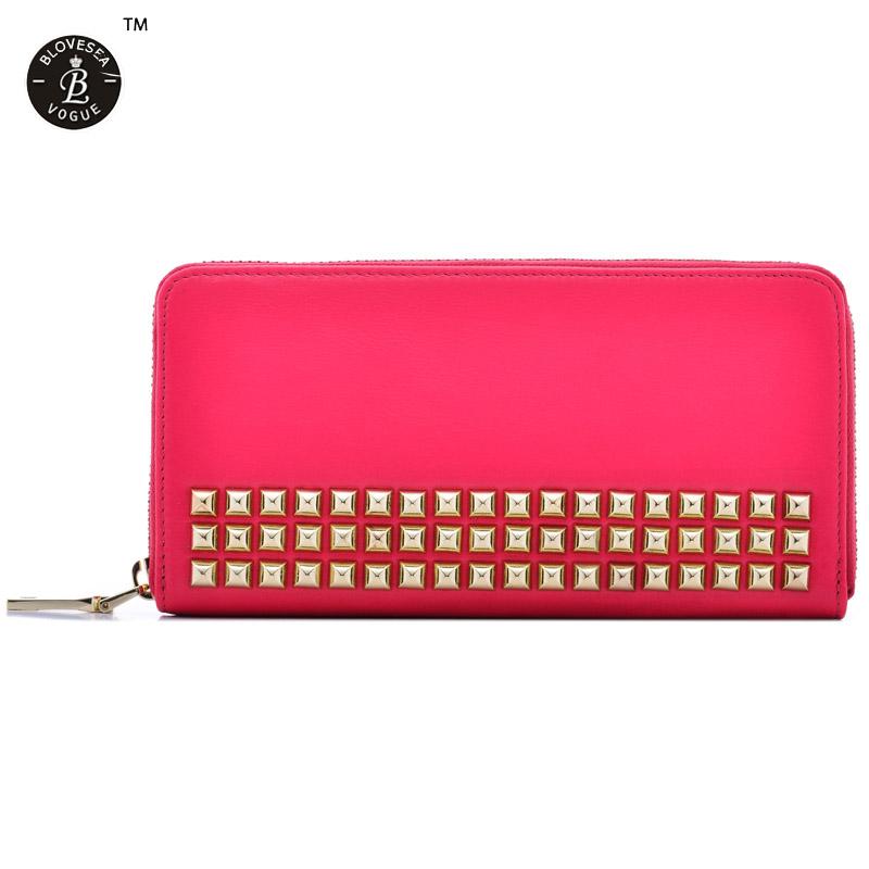 Hot Sale Luxury Rivets Wallet Genuine Leather Women Purses Standard Wallet Bag Plenty Card Holders Long Purse Black Purple Rose<br><br>Aliexpress