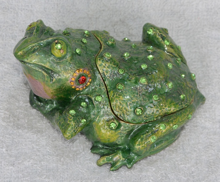 Free shipping green big toad bufonid frog jeweled trinket boxes enameled hinged keepsake box Christmas birthday giveaway gifts