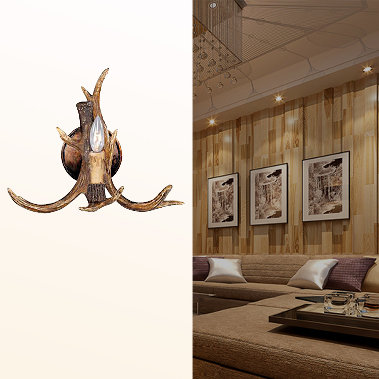 European Antler Wall Lamp American Simple Resin Wall Lamp Living Room Aisle Bar Cafe Wall Light<br><br>Aliexpress