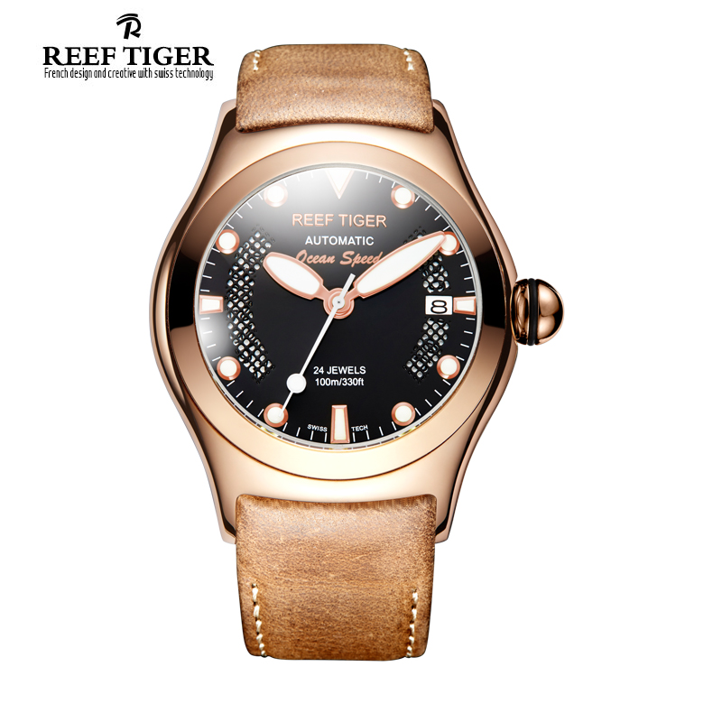 Здесь можно купить  Reef Tiger/RT Sport Casual Watches for Men Rose Gold Big Skeleton Dial with Date Luminous Self-winding Wirst Watches RGA704  Ювелирные изделия и часы