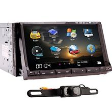 Rear Camera+Double 2 Din Car Radio Stereo GPS Navigation 7″ Motorized Car DVD Player Built-in ipod+TV+GPS+BT Free Map Car Audio