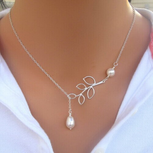 Hot Sale Luxury Leaf Imitation Pearl Necklace Circle Lariat Necklace Jewelry Wedding Party Gift 23DS(China (Mainland))
