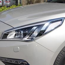 Fit For Hyundai Sonata 2015 New High Quality ABS Chrome Headlight Head Light Lamp Covers Exterior Mouldings Auto Trims 2PCS(China (Mainland))
