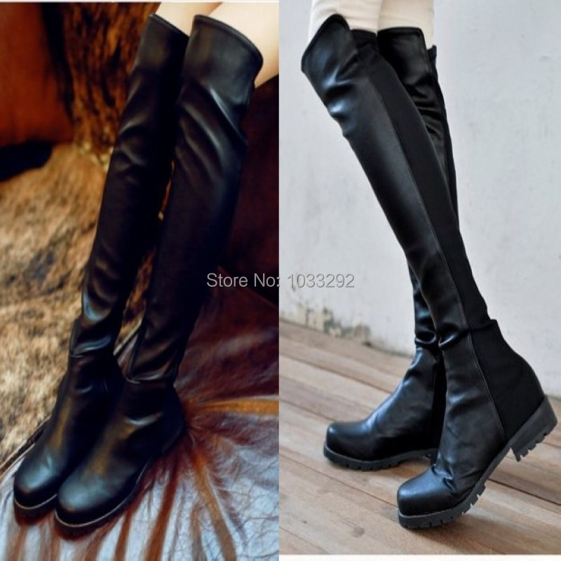 Womens Stretch Pleated Thigh High Knee Boots Flat Oxfords Riding Pumps us 4 4.5 5 6 7 8 9 10 10.5 11