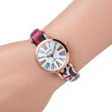 New GENEVA Vintage flores de colores relojes Casual ladies Watch reloj de cuarzo de cuero mujeres relojes de vestir relojes mujer 2015