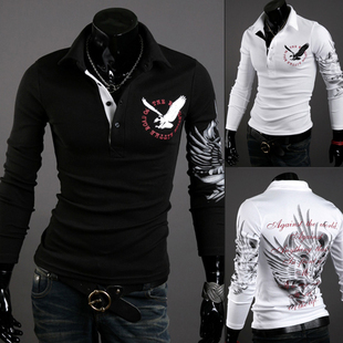 Holiday Sale Men's clothing eagle printing long sleeve POLO unlined upper garment of cotton long sleeve T-shirt
