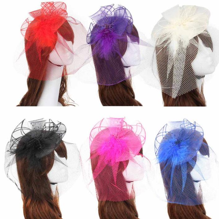 jun30 Modern Wedding Fascinator Veil Feather Hard Yarn Headband Hats Women Brides Hair Accessories(China (Mainland))
