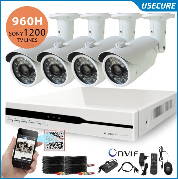 The video surveillance HD Sony 1200tvl camera security system 4channel cctv 960H dvr recorder system usb 3G wifi+Free Shipping(China (Mainland))