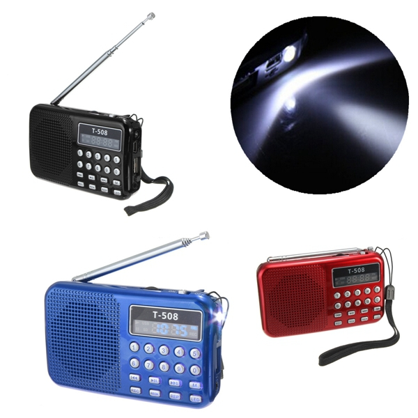 new Mini Portable 50mm Internal Magnetic T508 LED Stereo FM Radio Speaker USB TF Card MP3 Music Player(China (Mainland))