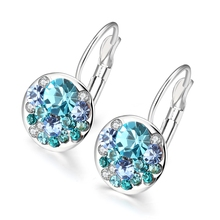 2016 New Fashion Round Earrings Stud 18K white Gold Plated With Swarovski Crystals Women Earrings Wholesale Jewelry Brinco(China (Mainland))