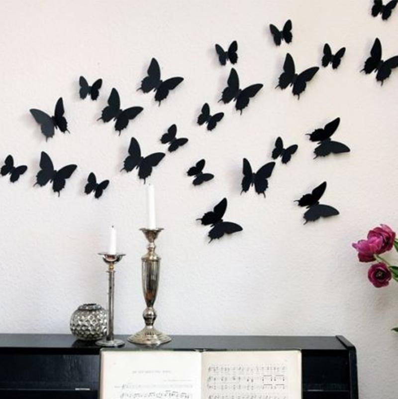 12 unids 3d mariposa pegatinas de pared mariposas docors - Mariposas decoracion pared ...