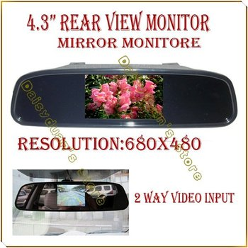 """4.3"""" 4.3 inch TFT LCD Color Car rear view mirror monitor  video DVD player car audio auto for Car Reverse camera"""