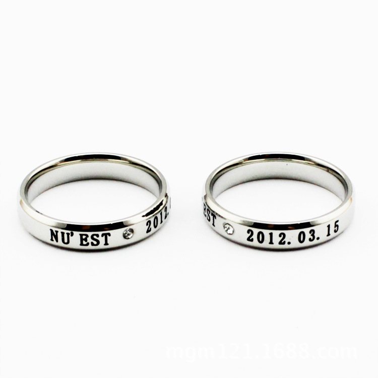 south Korean star K-Pop music group NUEST constellation birthday logo finger ring retail and wholesale(China (Mainland))