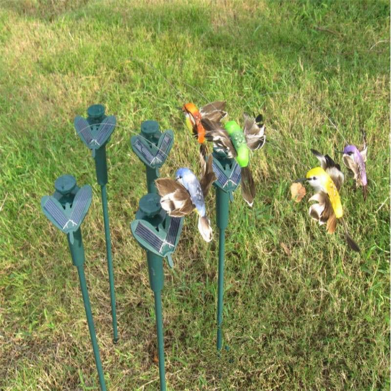 Hot Sales DIY Gardon Decoration Bionics Flying Hummingbird Ornaments Changing LED Solar Powered Lighting Simulated Birds(China (Mainland))