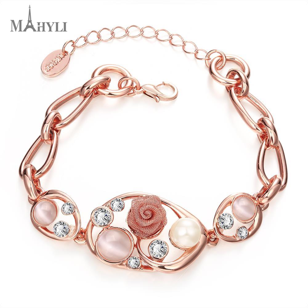 MAHYLI Fashion opal rose flower crystal Bangle Bracelet For women men Rose Gold Plated Opening cuff Wedding Jewelry love forever(China (Mainland))