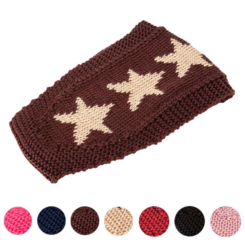 Simple Star Pattern Crochet Knitting wool Head Wrap Band Autumn Winter Headband Wide Hair Accessories For Women Ladies CY0730(China (Mainland))