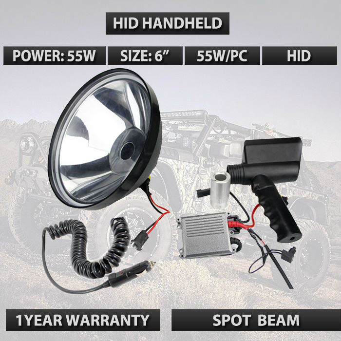 6 7INCH 55w 12V Xenon HID Search light H3 Handheld  Spotlight Search Light Boat Camping Spot Lamp