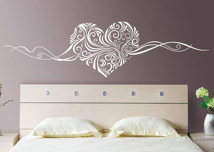 Coeur romantique amovible stickers muraux bricolage for Vinilo para dormitorio adultos
