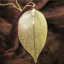 2016 Fashion 18K Gold And Silver Plated Chain Long Pendant Necklace Collar Maxi Dipped Natural Real Leaf Necklace Women Jewelry(China (Mainland))