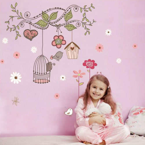 Cute birdcage flower vines mural wall stickers vinyl decal - Stickers pour chambre fille ...
