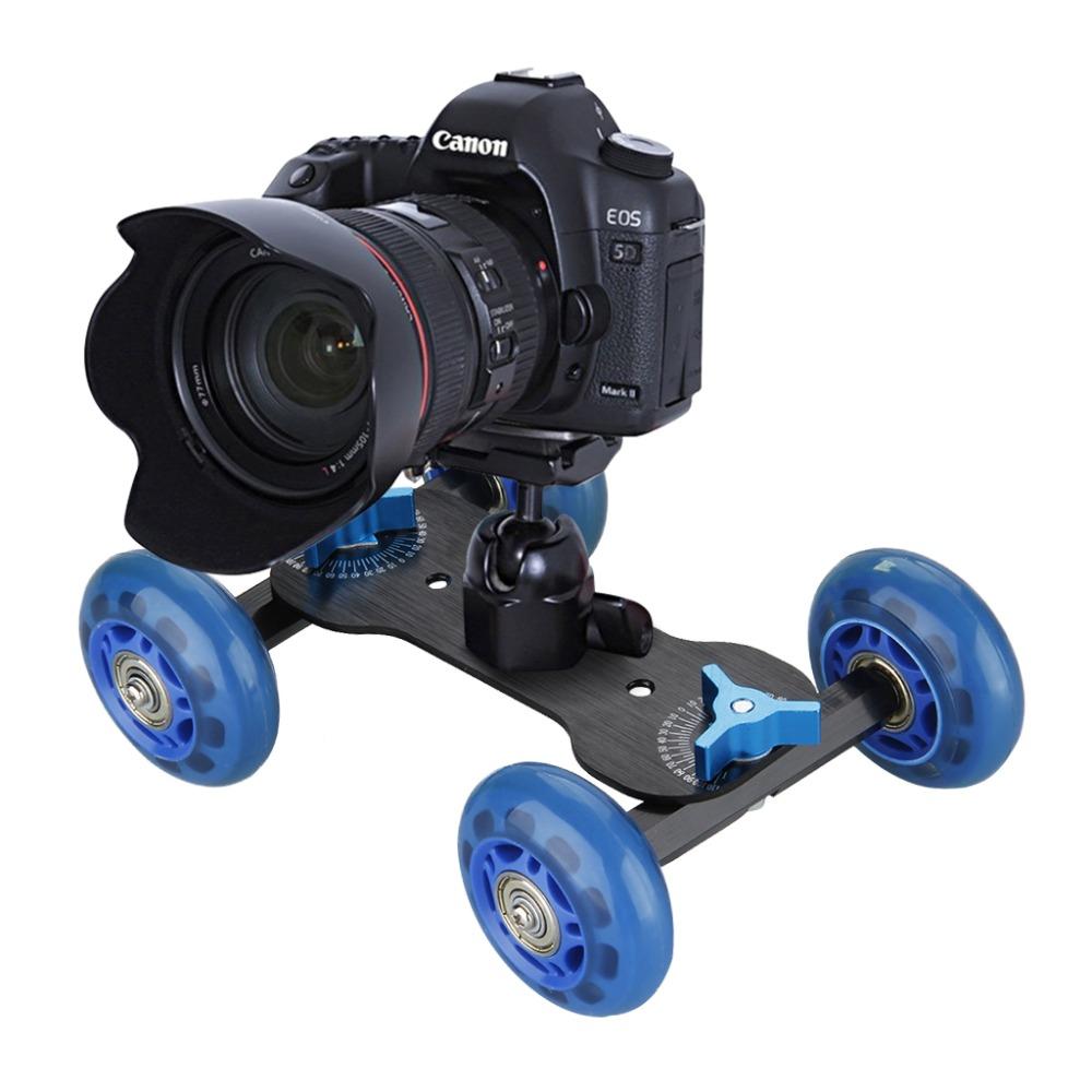 Mini Desktop Rail Rolling Track Car Skater Mute Pulley Drift Flexible 4-wheel Car for DSLR Camera Camcorder(China (Mainland))