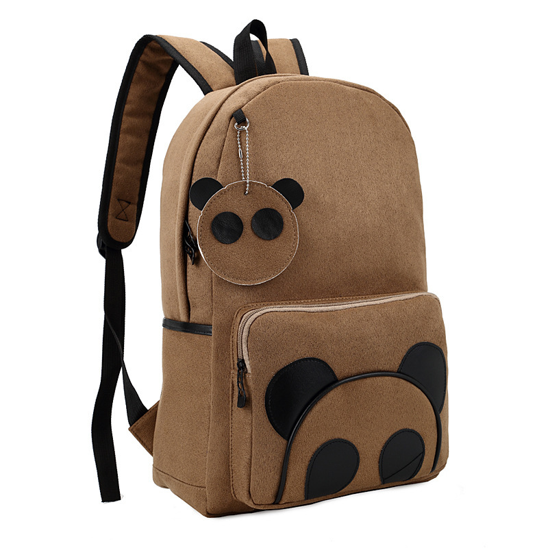 Wholesale suede panda backpack schoolbag College wind tide Korean middle school