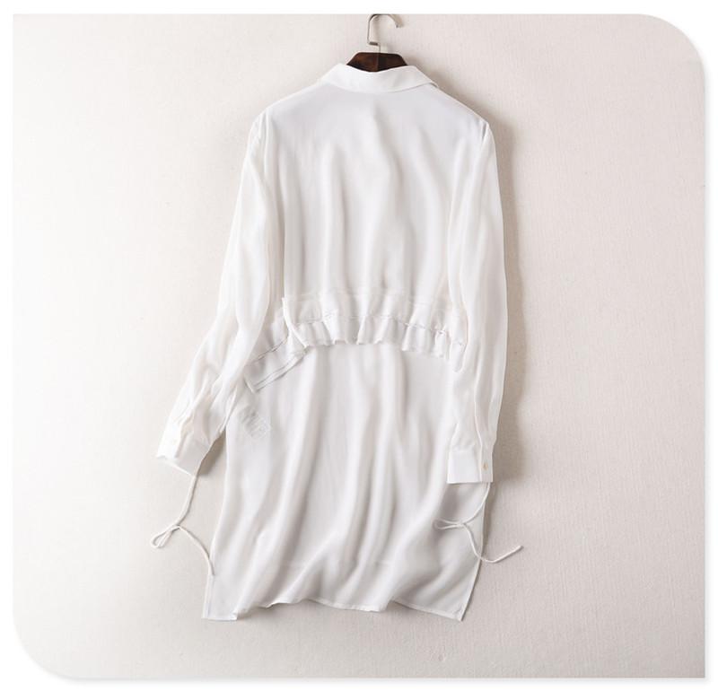 Back Design Asymmetrical Woman Blouses 2016 Spring Summer 100% Silk Womens Tops New Chemise Femme Manche Longue Fashion