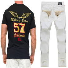 2015 New White Blue Red Black Robin Jeans for Mens Robin Pants Fashion Casual Denim Jeans Robins Jeans Men Plus Size 38 40 42(China (Mainland))