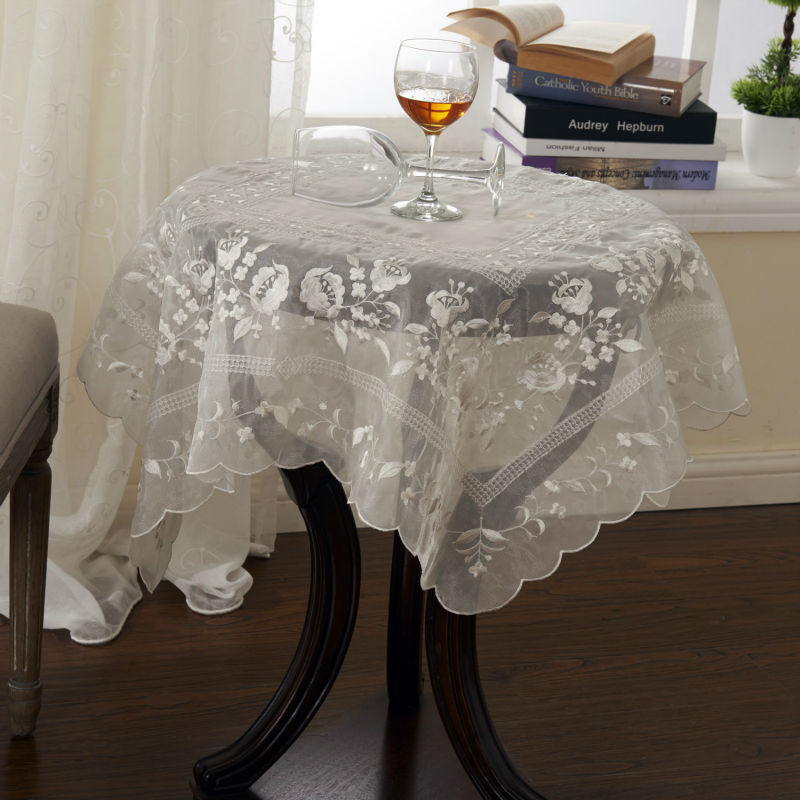 Wholesale embroidery wedding decor table cloth 85x85cm sq for Cheap wedding decorations in bulk