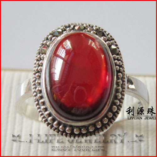 2014 Fashion 925 Sterling Silver Bohemia Retro Red Corundum White Ring Pillow With Stone for Couple (China (Mainland))