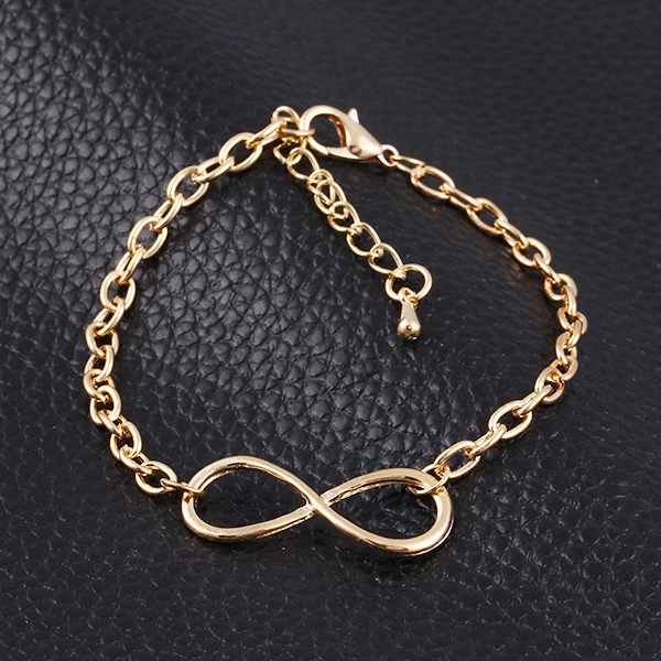 3 Colour pulseras mujer New Fashion Popular Gold/Silver /Black Cross Infinity Chain Bracelets & Bangles Jewelry For Women(China (Mainland))
