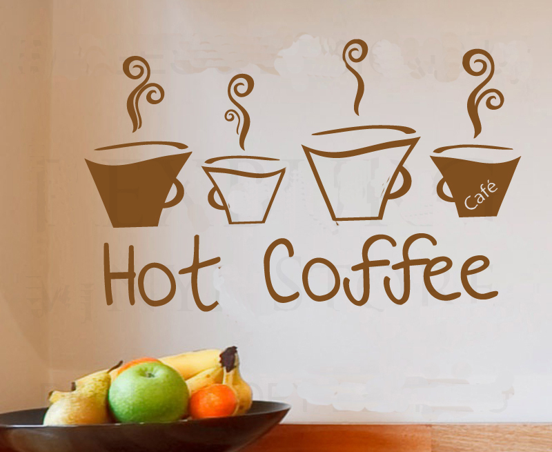 Hot Coffee cup shop/Kitchen -wall sticker decal decor quote art lettering wording for home decoration living room kitchen(China (Mainland))