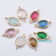 40pcs Mixed Oval Faceted Framed Charms Jewelry Zircon Cubic Zirconia Pendants Glass Bezel Connector For DIY  Necklace Bracelet(China (Mainland))