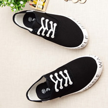 2015 New Style Casual Black Letter Printed Low Top Women Canvas Shoes Lace Up Sneakers Fashion