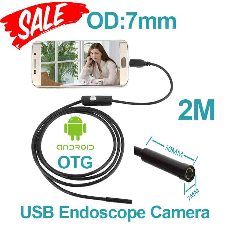 6pcs LED Andriod USB Endoscope Camera  OTG USB Camera 7mm OD 2m Cable Snake Tube Waterproof Inspection Portable Endoscope Camera<br><br>Aliexpress