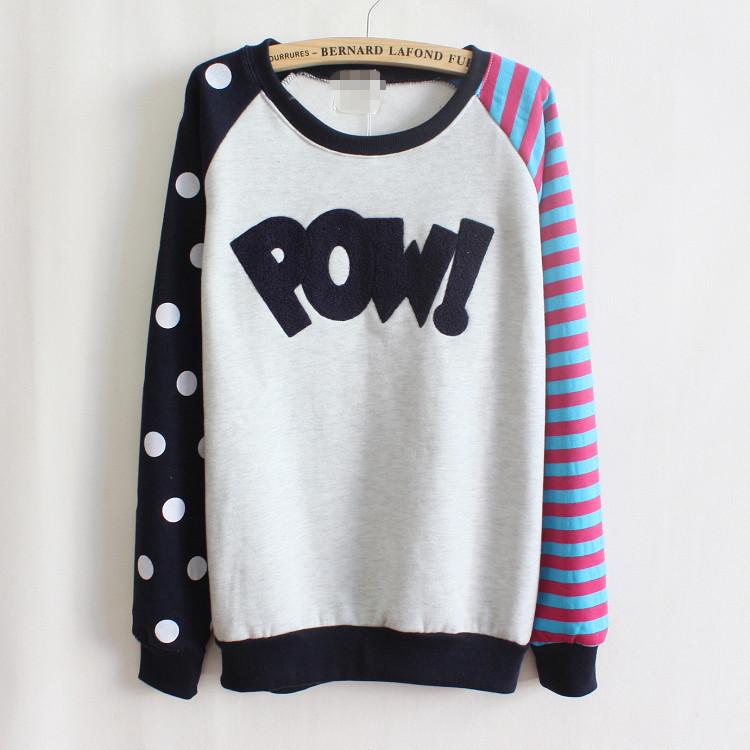 Long sleeve women t shirt 2015 fall/winter latest leeter print tee POWI T-shirt blouse tops plus size cotton dot strip shirts(China (Mainland))