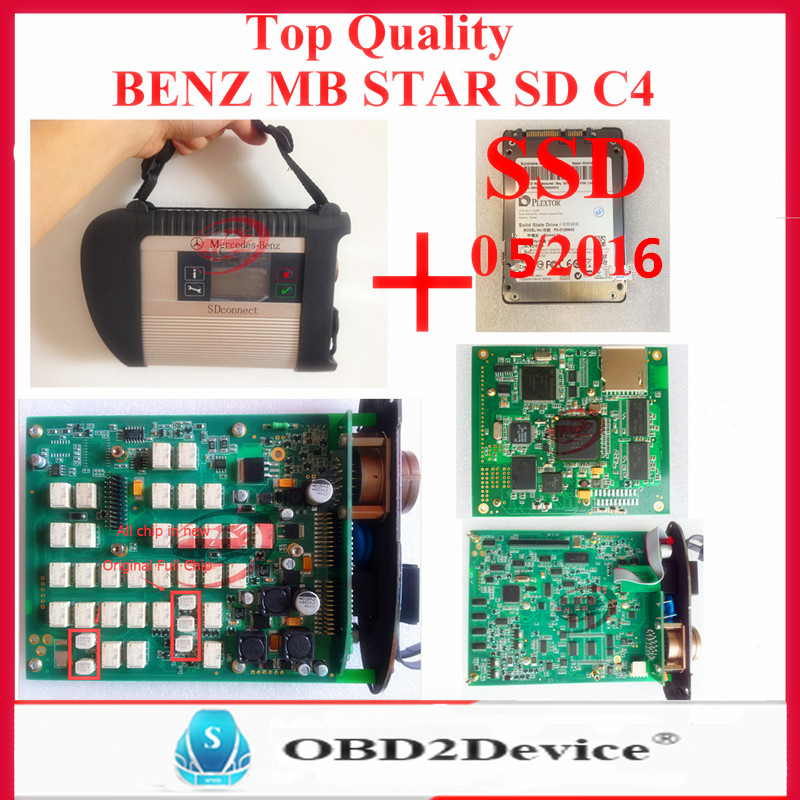 Top Quality Mb Star C4 SD Connetct with SSD 3/2016V Latest mb star sd c4 Free Xentry Developer full chip mother board DHL Free(China (Mainland))