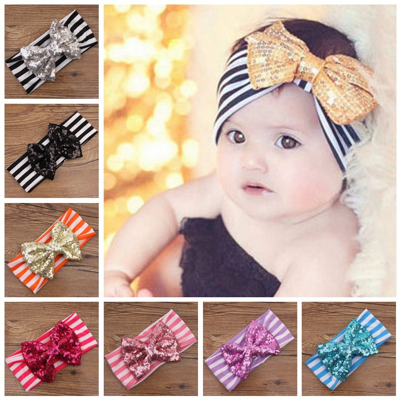 The New Children's Sequined Bow Striped Cotton Headband Baby Sequined Bow Headband, Baby Hair Bow Ribbon Wholesale(China (Mainland))