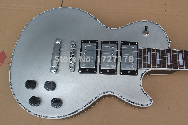 Free shipping new G musical instrument silver top LP electric guitar, Custom shop H-H-H pick up mahogany guitarra(China (Mainland))