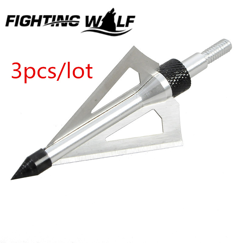 3pcs lot 100 Grain 3 Fixed Blades Cutting Archery Arrowhead Broadhead Universal Crossbow Compound Bow Arrow