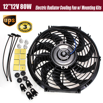 2015 New 12inch 12V 80W Slim Reversible Electric Radiator Cooling Fan Push Pull Easy Install