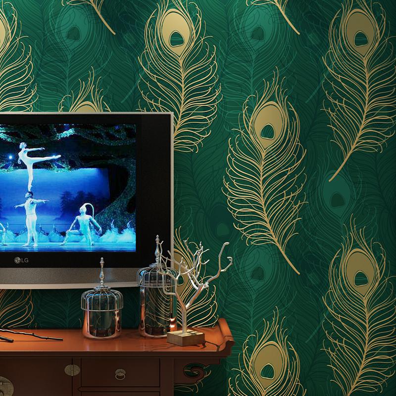 plume de paon papier peint promotion achetez des plume de. Black Bedroom Furniture Sets. Home Design Ideas