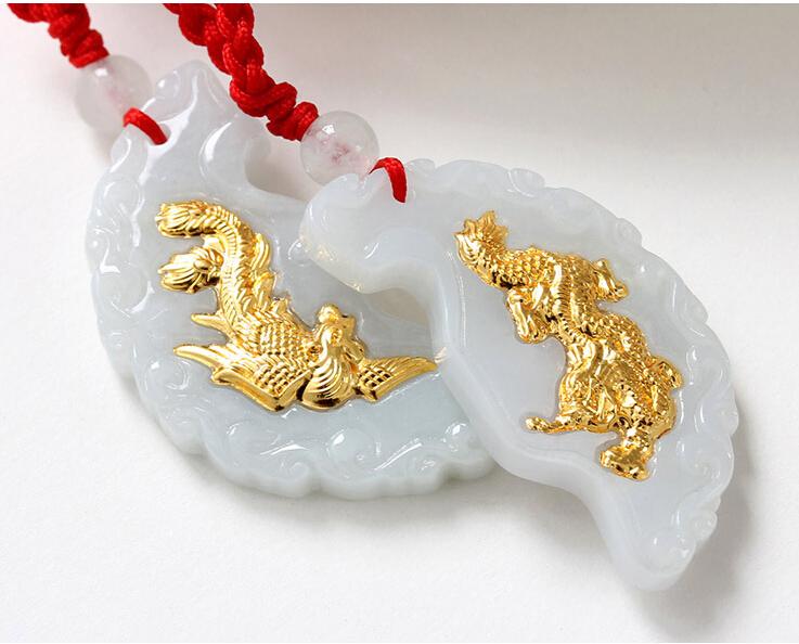 A Grade Natural White Jade Hetian 24K Yellow gold Dragon Phoenix Pendant With Certificate(China (Mainland))