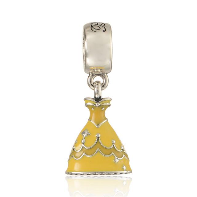 Желтая эмаль платье мотаться бусины чистый 925-Sterling-Silver ювелирные пандора браслет DIY женщины ювелирных изделий