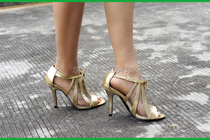 2015 summer spring sandals women's shoes of bud silk screen fish mouth princess high heel shoes with elastic golden sandals