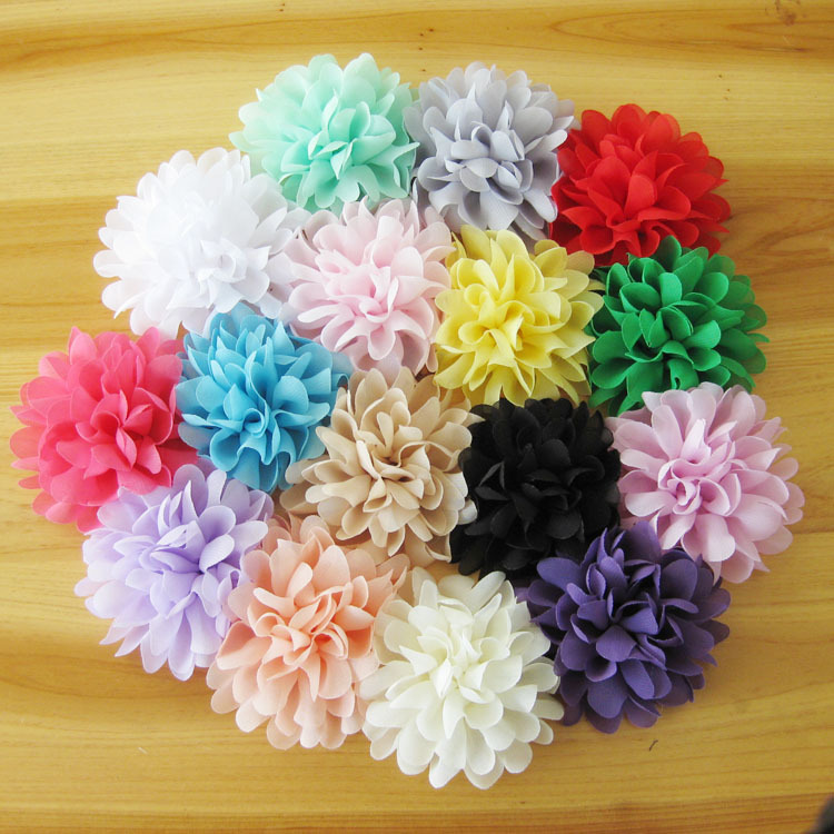 """120pcs/lot 4.1"""" 16colors Soft Chiffon Flowers Flatback Flet Flower For Baby Hair Accessories Fluffy Fabric Flowers For Headbands(China (Mainland))"""