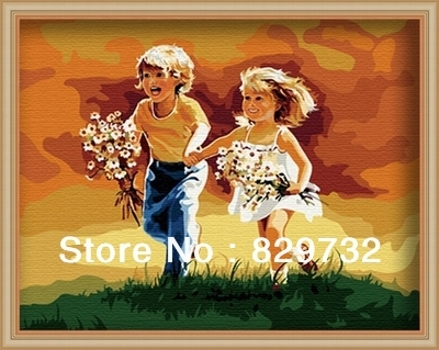 JIUJIU DIY digital oil painting Free shipping picture unique gift home decoration 40X50cm Brother and sister paint by number