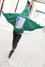Attack on Titan  Shingeki no Kyojin Scouting Legion Cosplay The batwing sleeve cloak  coat hoodie(China (Mainland))